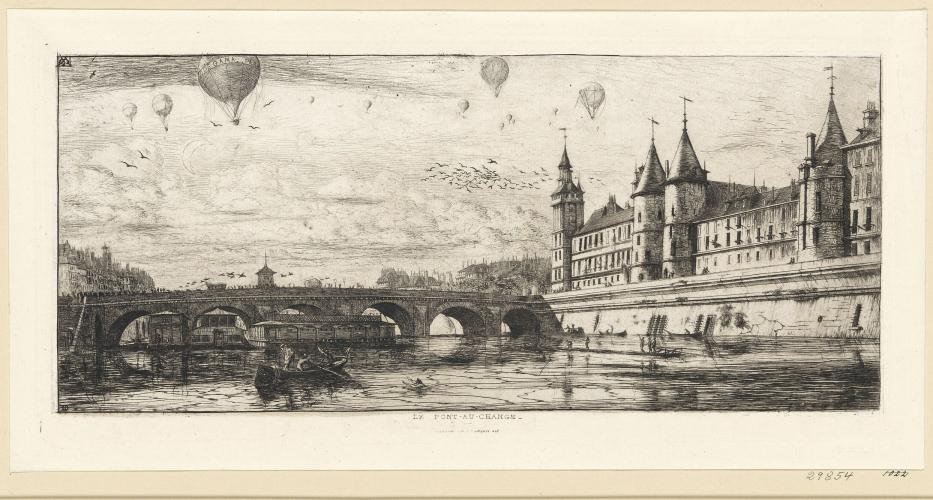 """""""Le pont au change"""", Charles Méryon, 1854."""