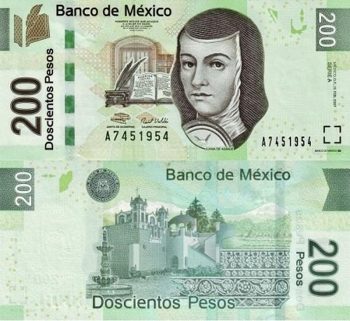 thumbnail_Billete de 200 pesos mexicanos con Sor Juana Ines de la Cruz